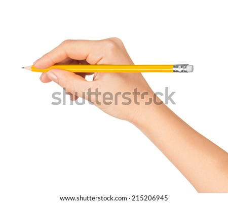 hands with pencil writing something on an isolated white background - stock photo
