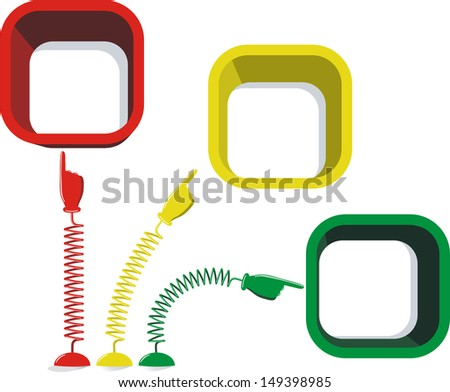 Hands with pointing finger on springs and place for your text. Raster version - stock photo