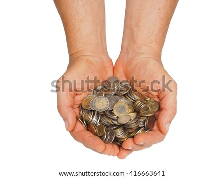 Hands with Polish money isolated on white background - stock photo