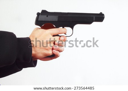 Hands with semi-automatic army gun on a white background - stock photo