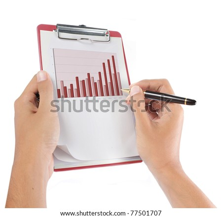 hands with sheet of monthly report document isolated over white - stock photo