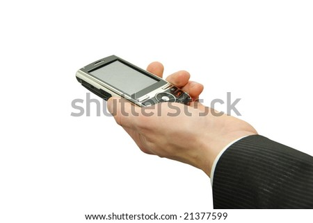 hands with smart phone - stock photo