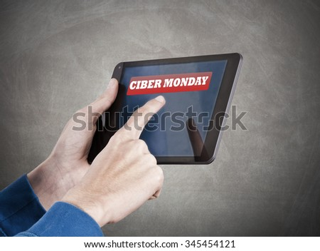 hands with tablet and rebates message - stock photo