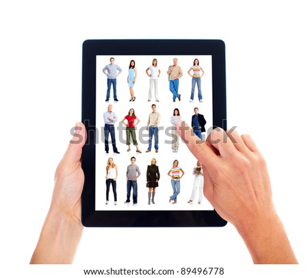 Hands with tablet computer. Business people team. Isolated on white background. - stock photo