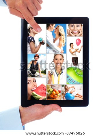 Hands with tablet computer. Health. People lifestyle. Isolated on white background. - stock photo