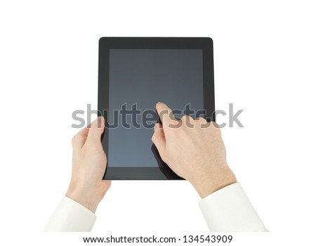 hands with tablet computer on white - stock photo