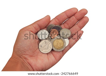 Hands with thai coins isolated on white background - stock photo
