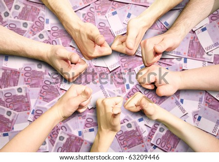 Hands with the fingers lifted upwards gesture OK on 500 euro money background collage - stock photo
