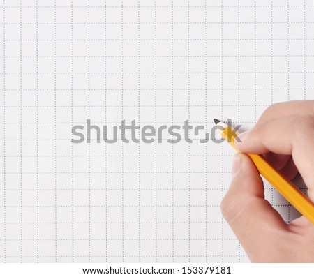 hands with the pencil rubber writting something  - stock photo