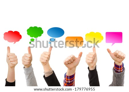 Hands with thumbs up and colorful speech bubbles - stock photo