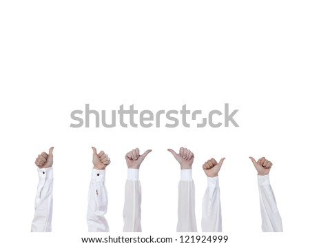 Hands with thumbs up isolated in a white background - stock photo