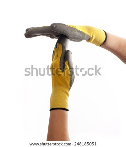 Hands with work gloves on a white background show timeout sign. - stock photo