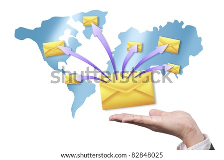 Hands with world mail delivery on map background - stock photo