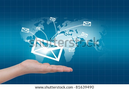 Hands with world mail delivery on world map background - stock photo