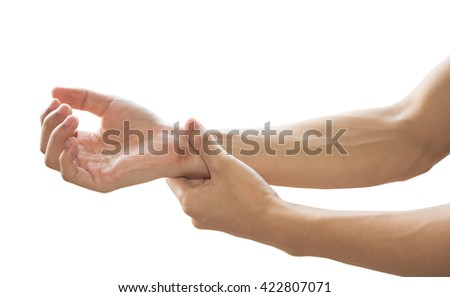 hands with wrist pain isolated on white background. - stock photo