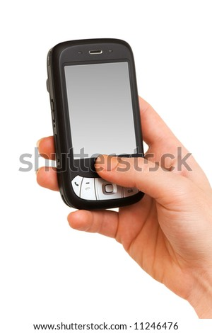 Hands working on a smartphone isolated on white - stock photo