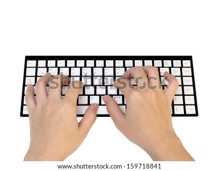 hands working on keyboard isolated - stock photo