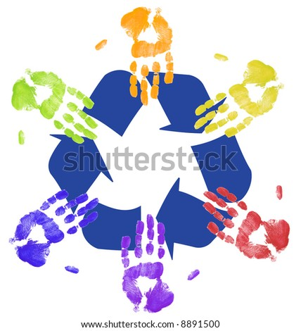 hands working together to recycle - on global level - stock photo
