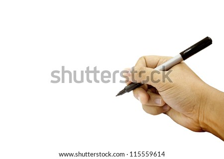 Hands writing isolated on white background