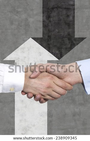 handshake and arrows symbol background - stock photo