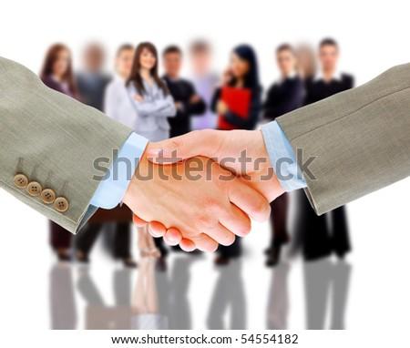 handshake and business team - stock photo
