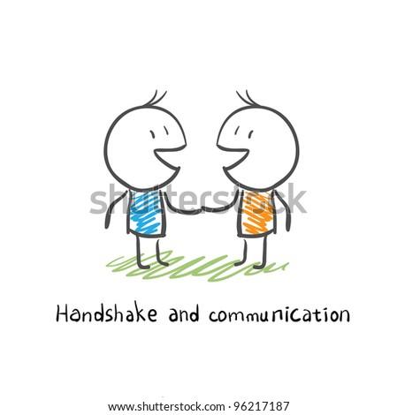 handshake and communication - stock photo