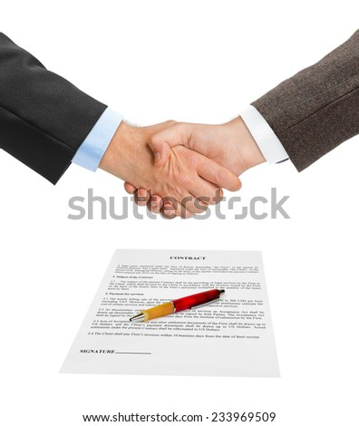 Handshake and contract isolated on white background - stock photo
