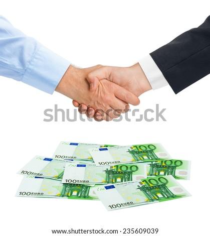 Handshake and money euro isolated on white background - stock photo
