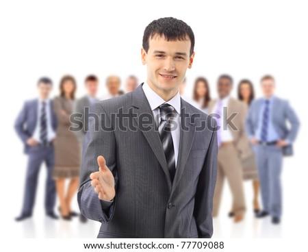 handshake and team - stock photo
