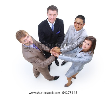 Handshake and teamwork isolated on white background - stock photo