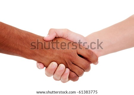 handshake, between a white and a black young man,