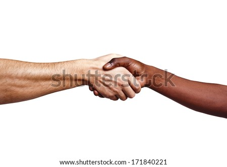 Handshake between african and a caucasian man, isolated on a white background - stock photo