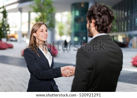 Handshake between business colleagues outdoor