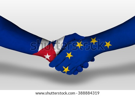 Handshake between european union and cuba flags painted on hands, illustration with clipping path.