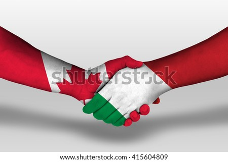 Handshake between italy and canada flags painted on hands, illustration with clipping path. - stock photo