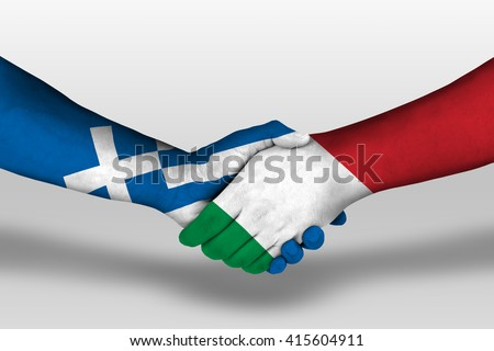 Handshake between italy and greece flags painted on hands, illustration with clipping path. - stock photo