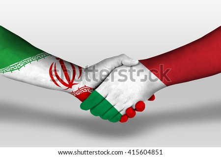 Handshake between italy and iran flags painted on hands, illustration with clipping path. - stock photo