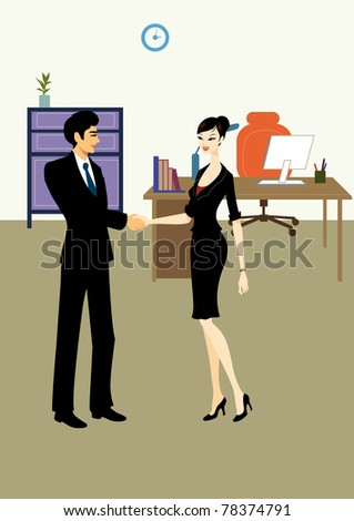 Handshake between professional office workers,  business man and woman, in company or corporation room - stock photo