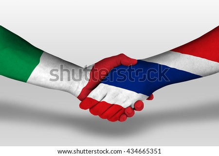Handshake between Thailand and Italy flags painted on hands, illustration with clipping path. - stock photo