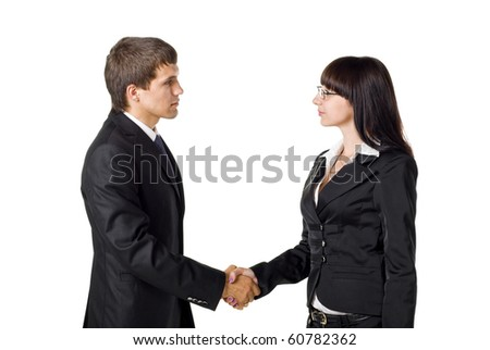 Handshake Between Two Business Colleagues. Isolated