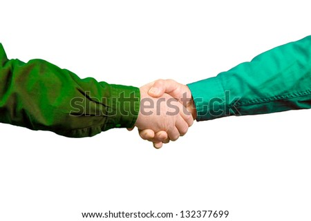 Handshake between two men over a white background - stock photo