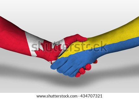 Handshake between ukraine and canada flags painted on hands, illustration with clipping path.