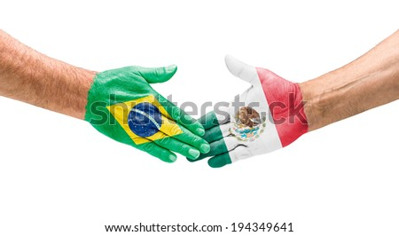 Handshake Brazil and Mexico - stock photo
