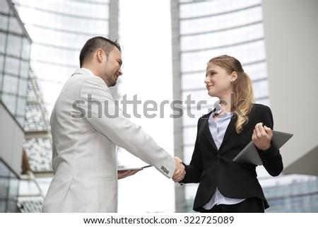 handshake business - stock photo