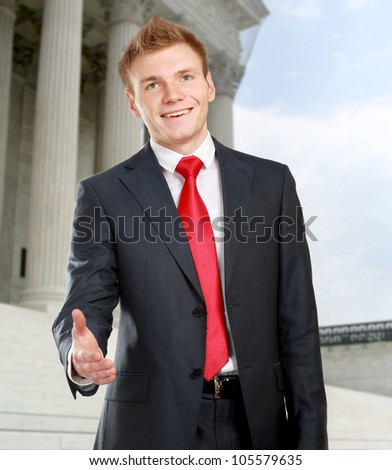 Handshake business concept - stock photo