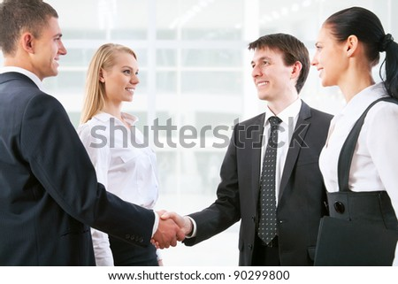 Handshake business people before the meeting