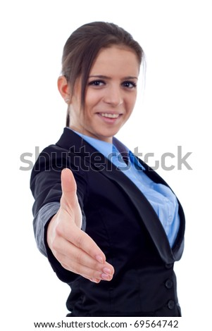 Handshake - Business woman offering a business deal, focus on hand - stock photo