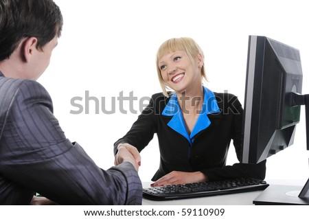 Handshake businessman and women.. Isolated on white background - stock photo