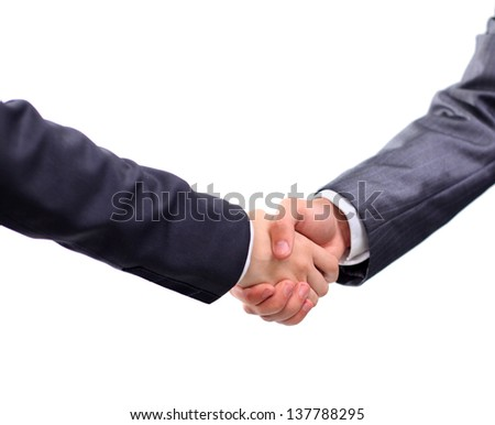Handshake businessmen. On a white background. - stock photo