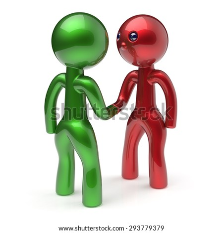 Handshake cartoon characters two men shaking hand business partners red green deal 2 different businessmen teamwork acquaintance agreement welcome meeting people icon concept. 3d render isolated - stock photo